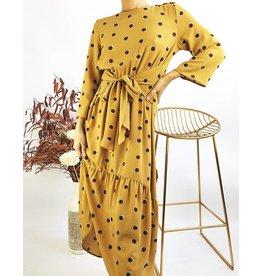 Polka Dot Half Sleeves Long Dress With Ruffle