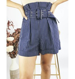 High Waisted Striped Short With Matching Belt