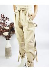 Pantalon taille haute à ceinture et noeuds aux chevilles - Taupe