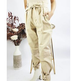 High Waisted Pants With Belt And Knot Cuff Details - Taupe