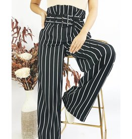 High Waisted Striped Pants With Matching Belt