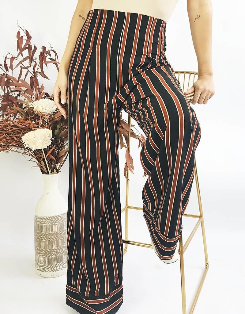 Pantalon taille haute à jambe large