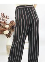 Pantalon rayé à taille haute