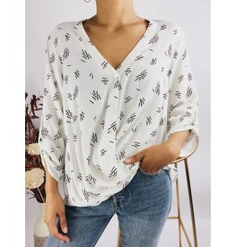 Printed Fluid Wrap Front Shirt