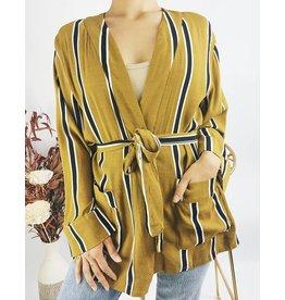 Veste rayée ceinturée style kimono