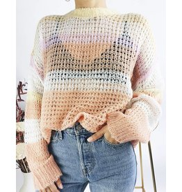Open-Knit Sweater with Striped Detail