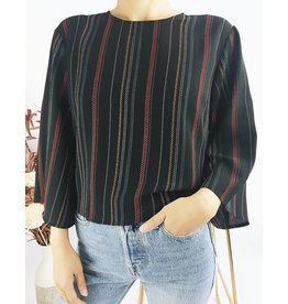 Striped Kimono Sleeves Shirt