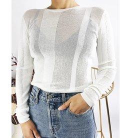 Crewneck Open-Knit Sweater