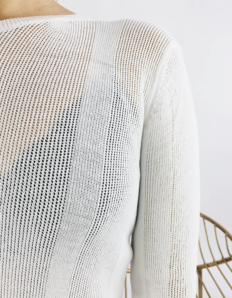 Crewneck Open-Knit Sweater