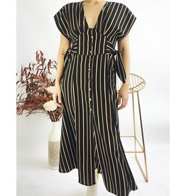 Button Down Long Dress With Side Knots