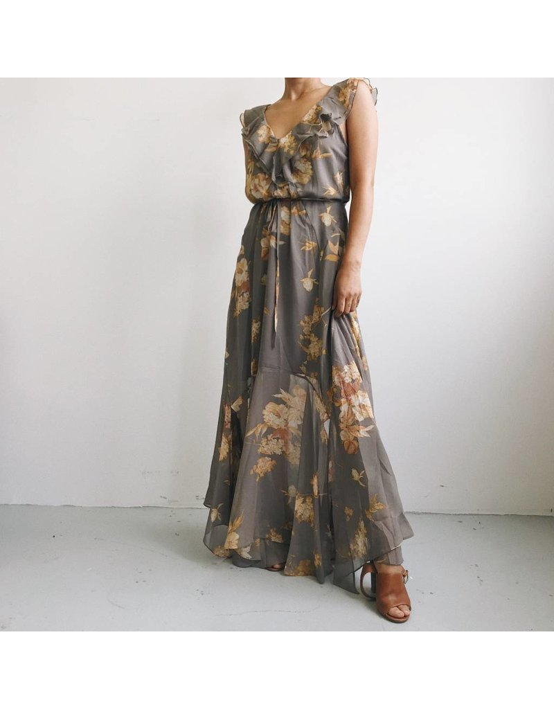 Floral Print Long Dress With Ruffle Detail