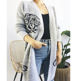 Cardigan with Tiger Print
