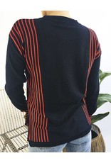 Navy Knit Sweater with Red Stripes