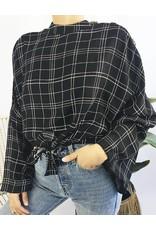 Blouse à carreaux avec détail noué et boutons