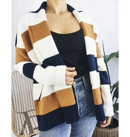 Oversized Cardigan with Large Stripes