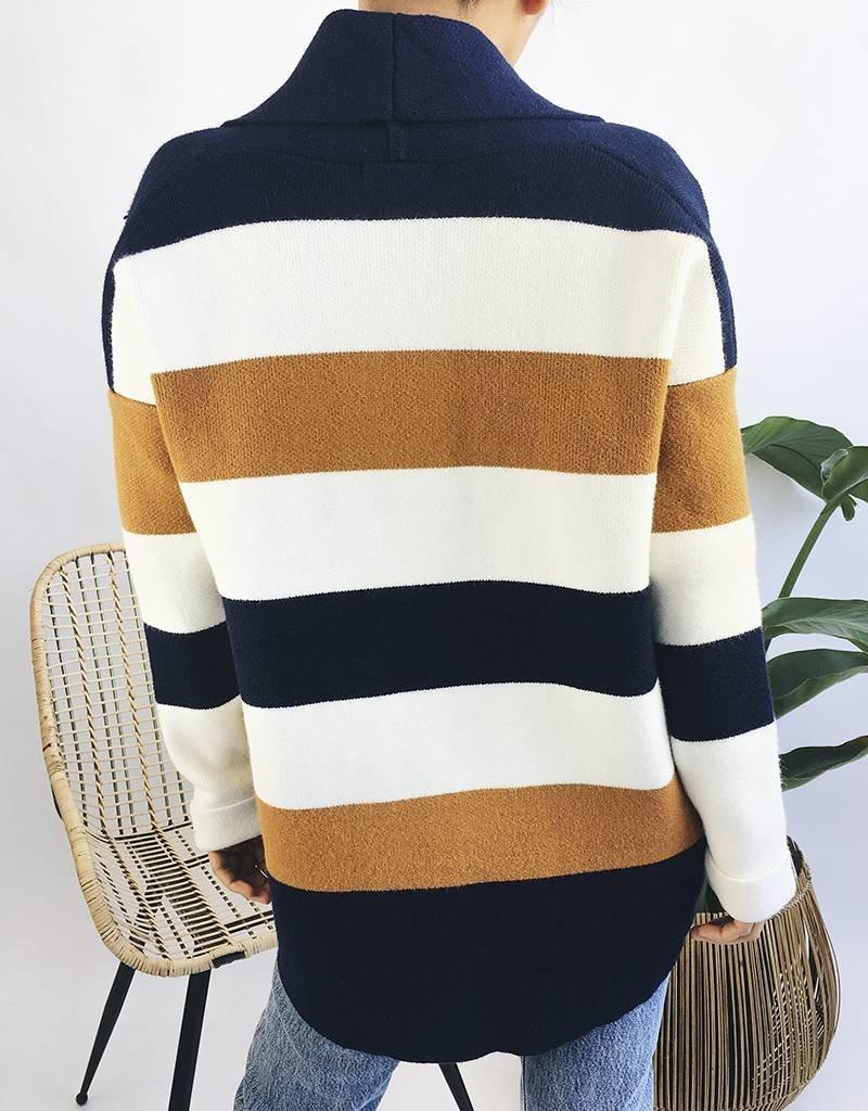 Oversized Cardigan with Large Stripes