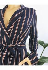 Stripe Lapel Jumpsuit