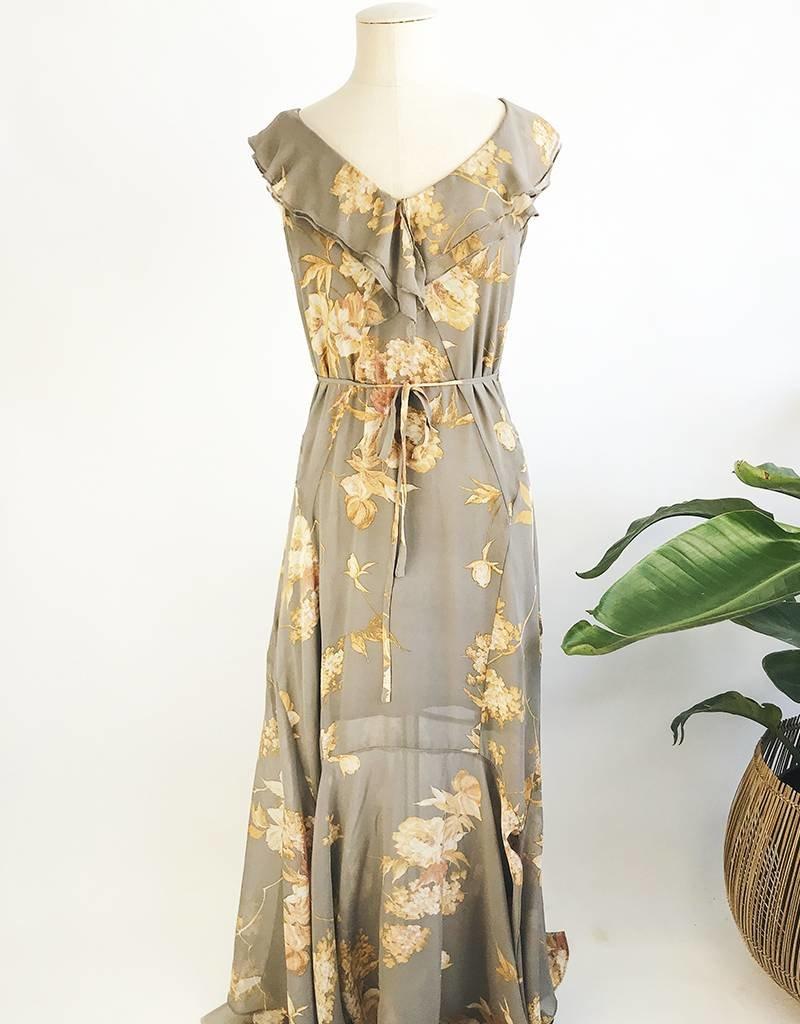 Robe longue à imprimé floral et détail volanté