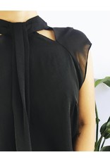 Cocktail Blouse with Cut-Out Neck Detail