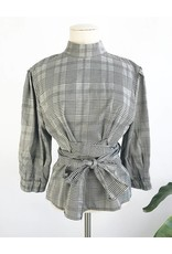 Plaid Top With Balloon Sleeves