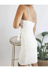 Bodycon Wrap Style Dress with Straps - Black