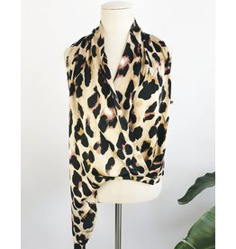 Leopard Print Wrap Design Top