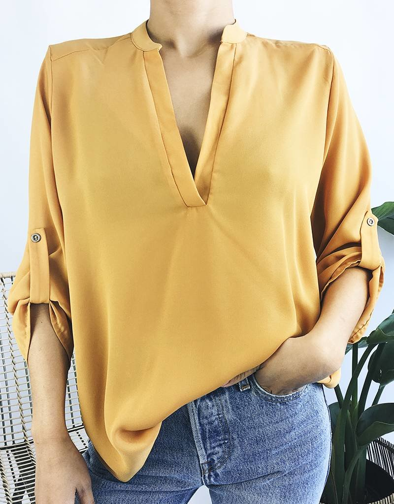 V-Neck Blouse with Rolled Up Sleeves - Mustard