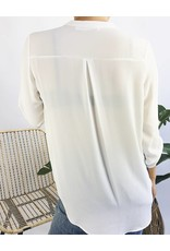 V-Neck Blouse with Rolled Up Sleeves - White