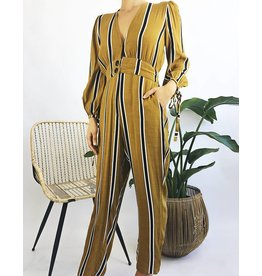 V-Neck Stripe Jumpsuit