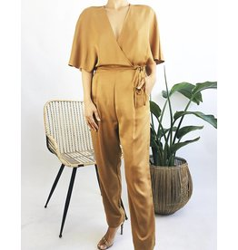 Wrap Design Jumpsuit With Angel Sleeves