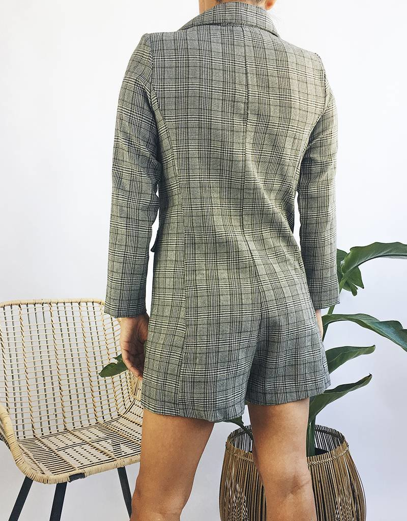Plaid Blazer Design Romper