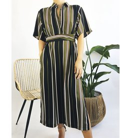 Long Striped Shirt Dress with Belt Attached