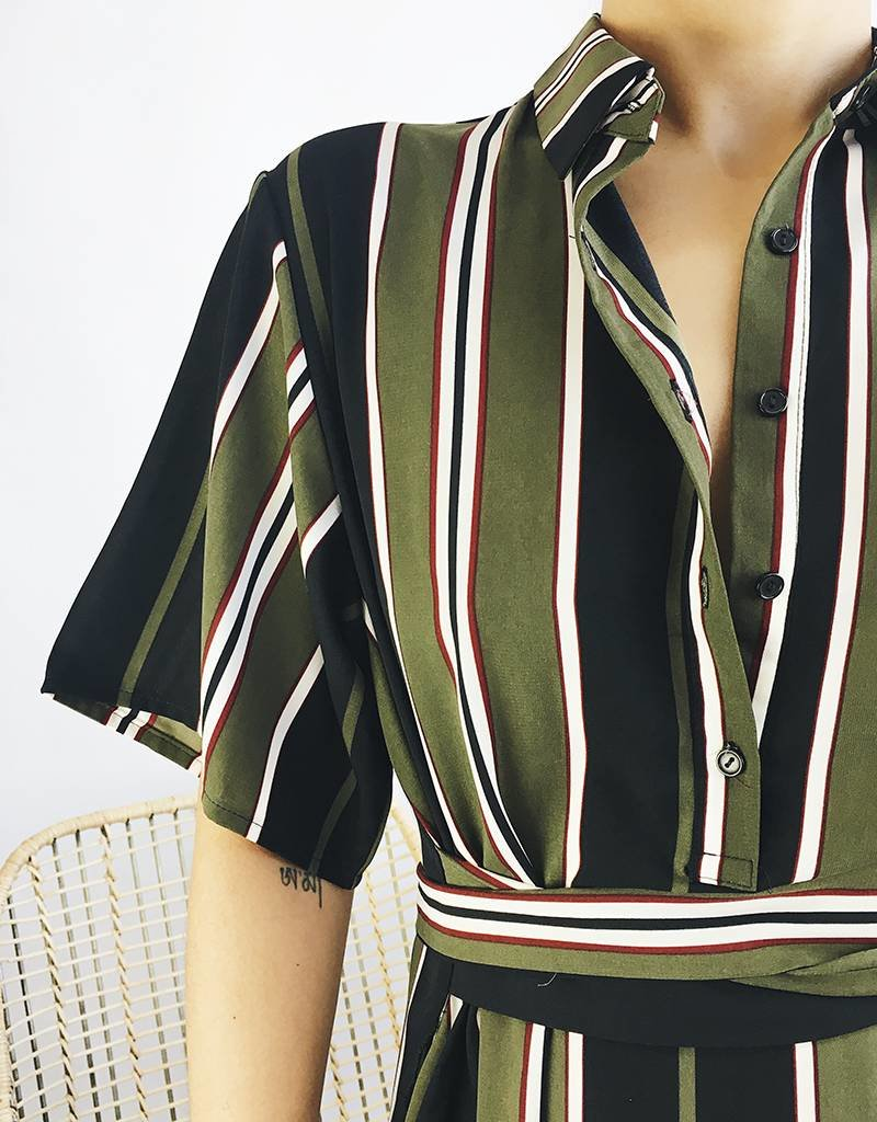 Robe chemise longue à rayures avec ceinture