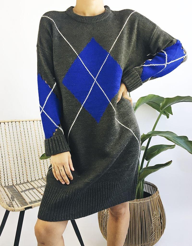 Robe pull en maille à motif losange