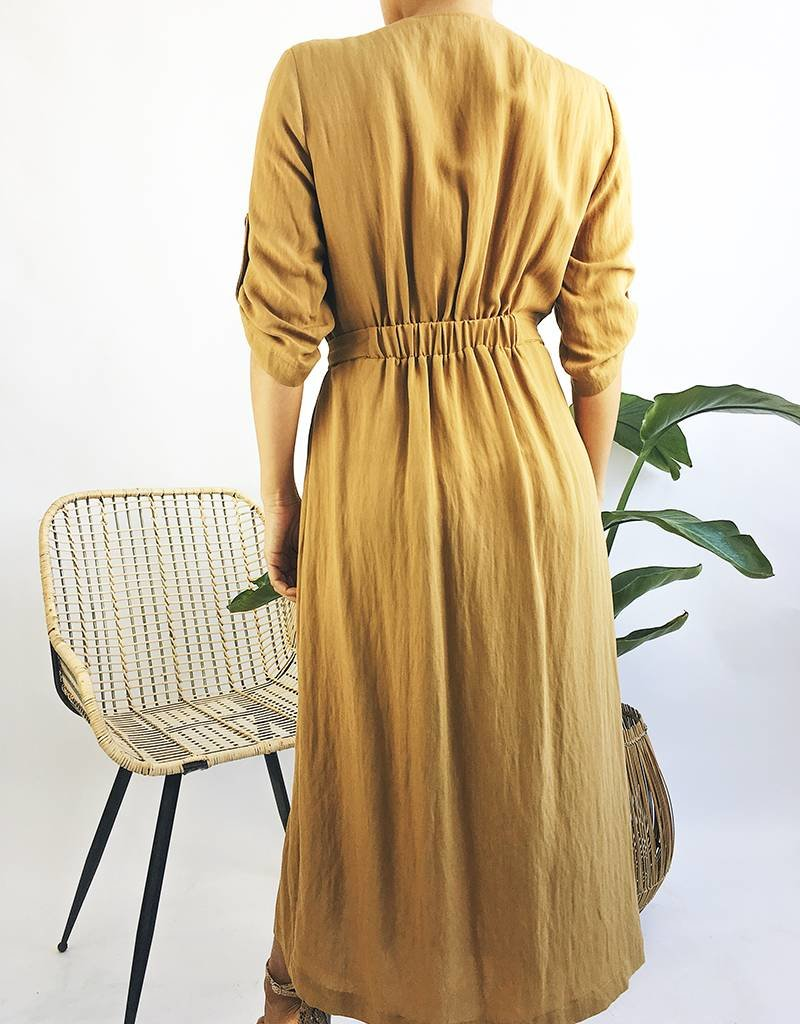 Half Sleeve Dress with Button Detail