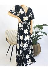 Floral Print Deep V-Neck Long Dress