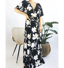 Floral Print Deep V-Neck Long Dress