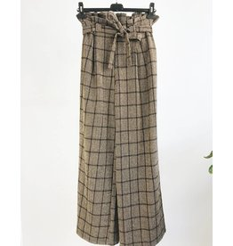 High Waisted Wide Leg Plaid Printed Pants