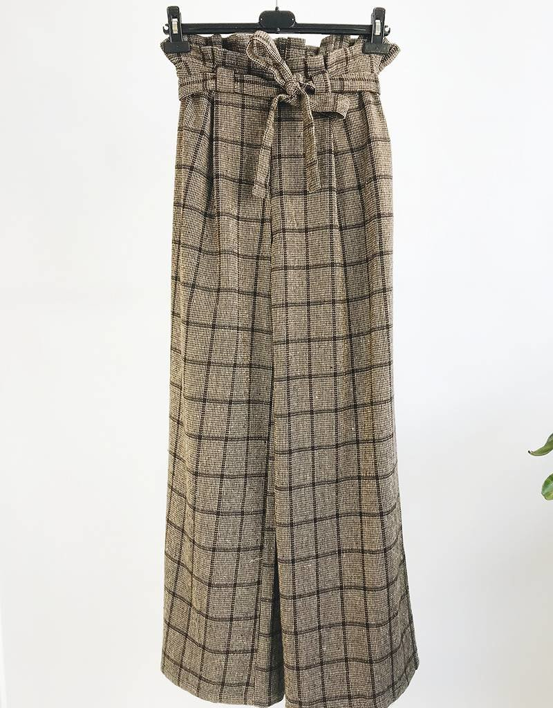 High Waisted Wide Leg Plaid Printed Pants
