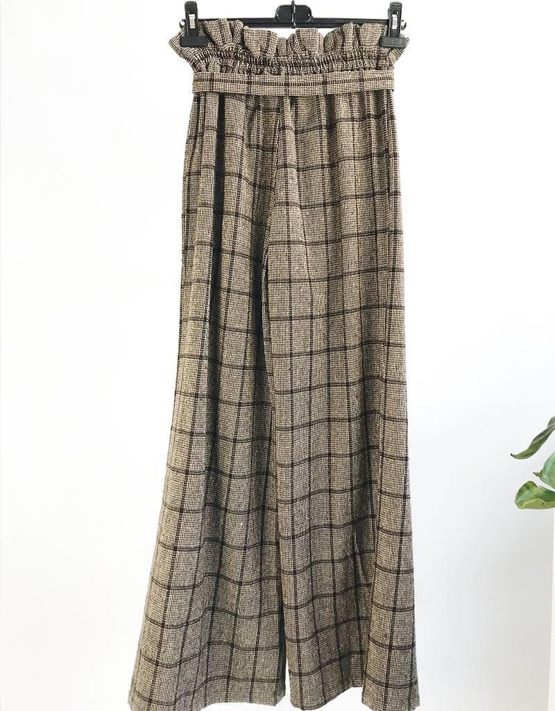 Pantalon taille haute à jambe large et imprimé plaid