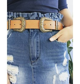 Faux Leather Western Double Buckle Belt - Gold / Brown