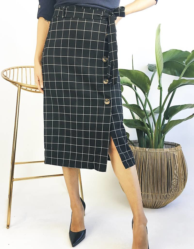 Checkered Mid-Length Skirt With Button Down