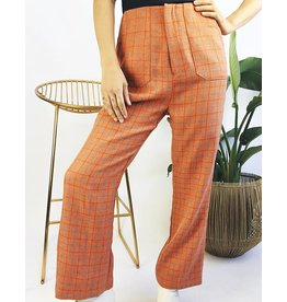 High Waisted Plaid Pants with Zipper