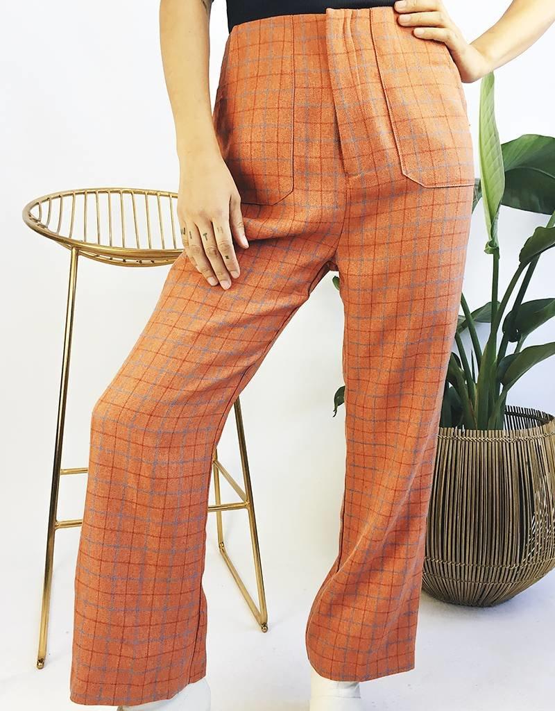 High Waisted Plaid Pants with Zipper