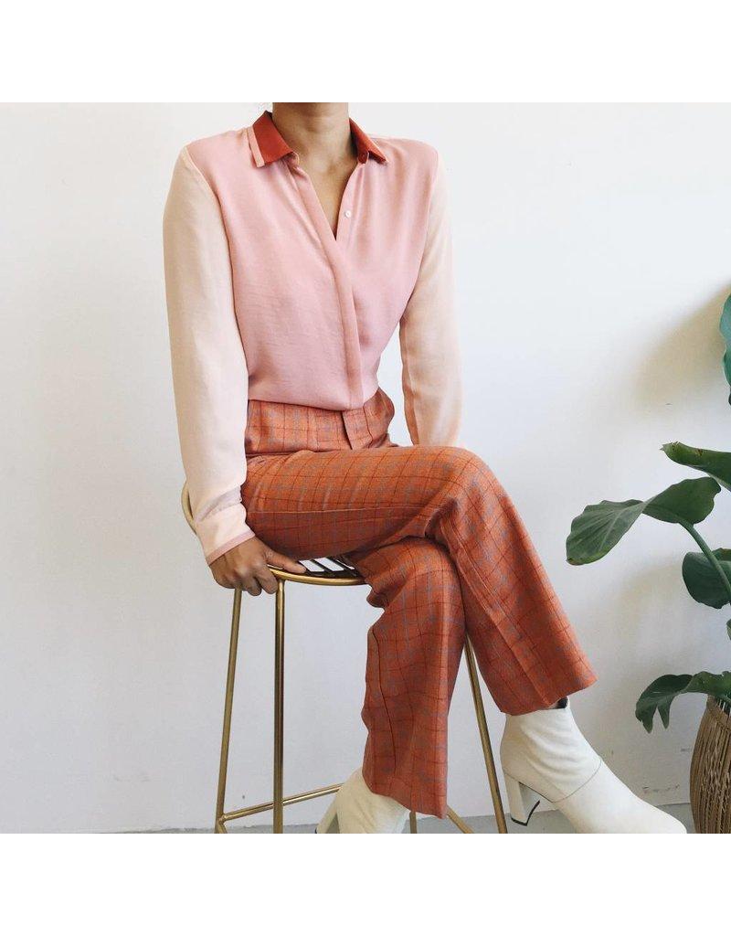 Pantalon taille haute à carreaux avec fermeture éclair