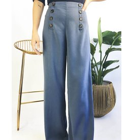 Palazzo High Waisted Pants With Button Detail
