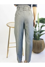 High Waisted Pin Stripe Pants with Belt
