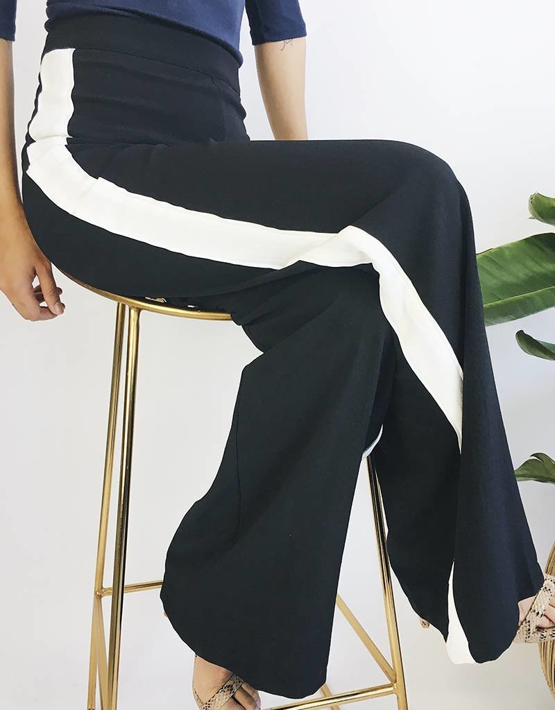 High Waisted Wide Legged Pants with White Bands