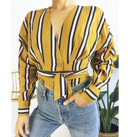 Cropped Stripped Mustard Shirt
