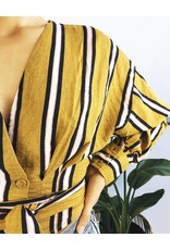 Chemise courte jaune moutarde à rayures